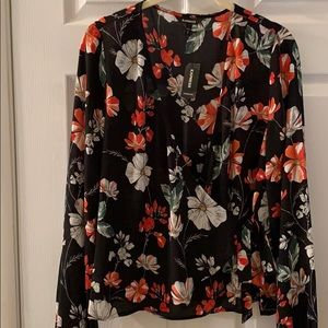 Brand new black floral tie front Express blouse